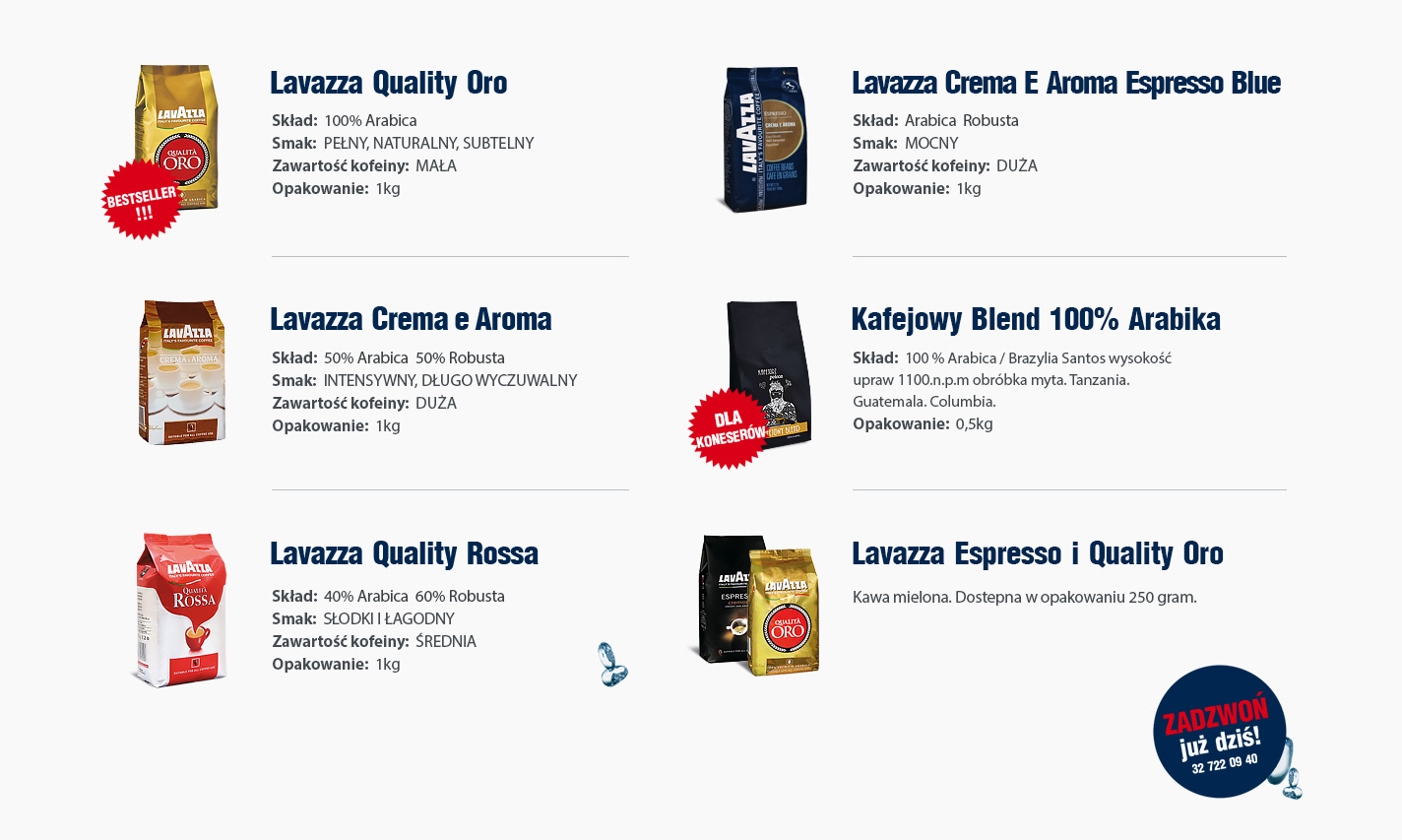 Kawa produkty dodatkowe