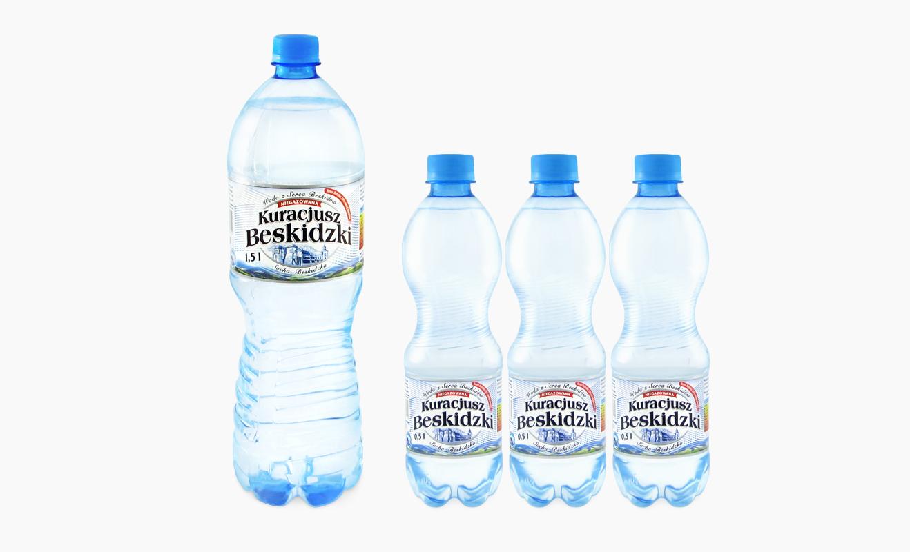 Woda mineralna w opakowaniach PET Kuracjusz Beskidzki dostępna w sklepie WŻ